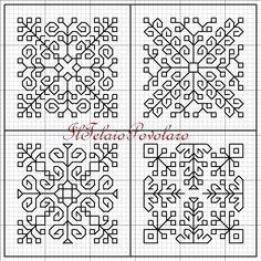 Blackwork - secondo schemino per la 3 e 4 faccia del biscornù a 8 faccie