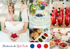 Moodboard blueberris and red fruits