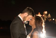 Moonlight photo of Chantal and Chris in front of the Atlanta skyline! This was taken outside of Park Tavern in Atlanta, Georgia. Their wedding was beautiful! Park Tavern, Atlanta Skyline, Piedmont Park, Night Shot, Atlanta Georgia, Moonlight, Special Events, Our Wedding, The Outsiders