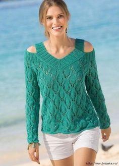 ОРИГИНАЛЬНЫЙ ИЗУМРУДНЫЙ ПУЛОВЕР С ОТКРЫТЫМИ ПЛЕЧАМИ СПИЦАМИ!  Оригинальное исполнение горловины — отличительная черта этого стильного пуловера.    РАЗМЕРЫ    Показать полностью…