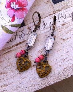 AMOUR. rhinestoneheart drop earrings. by tiedupmemories on Etsy, $28.00