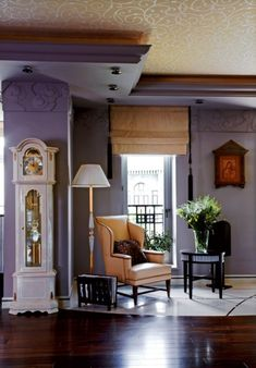 The basic colors of the interior of this apartment in Moscow, Russia, are lilac and plum violet with an addition of gold and silver. The interior is traditional with fresh modern touches and a little bit of art-deco.