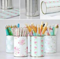 DIY tin can pen pots Tin Can Crafts, Cute Crafts, Diy And Crafts, Pot A Crayon, Pencil Cup, Pencil Boxes, Ideias Diy, Craft Storage, Desk Storage