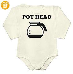 Pot Head Coffee Lover Design Baby Long Sleeve Romper Bodysuit Small - Baby bodys baby einteiler baby stampler (*Partner-Link)