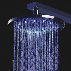 8 inch Brass Shower Head with Color Changing LED Light