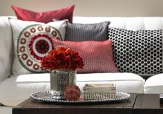 Accent pillows and flowers in your favorite color.