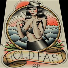 Bettie Page Hold Fast Art Print by ParlorTattooPrints on Etsy