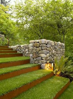 15 Modern Garden Stairs Ideas Bring Perfection Obviously - TheGardenGranny Landscape Steps, Landscape Architecture, Landscape Designs, Architecture Design, Landscape Bricks, Landscape Fountains, Garden Stairs, Design Jardin, Corten Steel