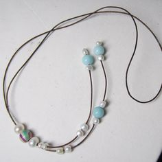 Freshwater Pearl Amazonite and Leather Bolo-style Necklace. Beautiful Spring and Summer Easy wear accessory! by PearlnLeatherJewelry on Etsy