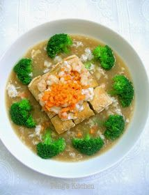 This is a healthy delicious dish which my kids will not rejected as all their favourite ingredients are used, tofu, prawn and broccoli! Top with creamy egg sauce, and serve along with bowl of warm ri Tofu Recipes, Fruit Recipes, Vegetable Recipes, Asian Recipes, Vegetarian Recipes, Cooking Recipes, Chinese Recipes, Delicious Recipes, Lobster Sauce