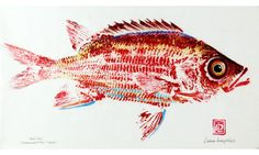 """ala`ihi"" original gyotaku, ink on rice paper, by Debra Lumpkins"