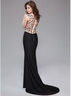 Trumpet/Mermaid Scoop Neck Court Train Tulle Jersey Evening Dress With Beading (017041064) - JJsHouse