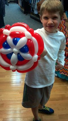 """Captain America throws his mighty shield! All those who chose to oppose the shield must yield! Captain America Party, Captain America Birthday, Capt America, Superhero Balloons, Superhero Party, Balloons And More, Big Balloons, Balloon Centerpieces, Balloon Decorations"