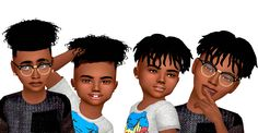 EbonixSims creates custom content for The Sims to fulfill your ethnic and urban content needs. Providing hairstyles, accessories, clothing and more for sims of colour. Sims 4 Hair Male, Sims 4 Black Hair, Sims Hair, Sims 4 Afro Hair Male, Male Hair, Sims 4 Toddler Clothes, Sims 4 Cc Kids Clothing, Toddler Outfits, Girl Outfits