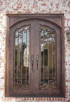 wrought iron double entry door with custom iron scroll work - Double Front Doors