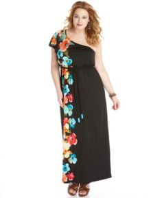 Love Squared Plus Size Dress, One Shoulder Printed Belted Maxi - Plus Size Dresses - Plus Sizes - Macy's