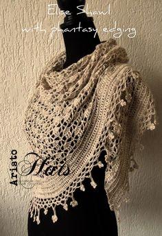 José Crochet: Elise Shawl met fantasie rand