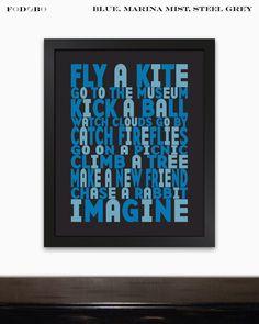 Inspirational Wall Art for Boys Room Baby Boy Nursery Typography Art Print Playroom Decor Toddler Boys Room Blue or Custom Artwork Gift Idea by FODOBO on Etsy https://www.etsy.com/listing/155487017/inspirational-wall-art-for-boys-room
