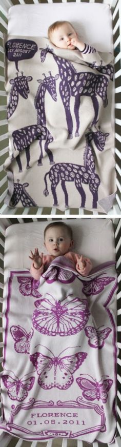 "For a ""girly"" blanket, this butterfly one is lovely.   baby blankets- Studio Roam. SOO in love"