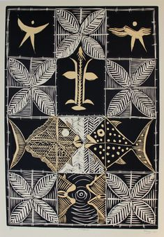Samoan artists who use the common threads and rich tapestry of their native Samoa to tell their own stories, their own way. Colours, textures, symbols of a romantic Pacific paradise, and the translocation of that heritage from Samoa. Tapas, Maori Symbols, Polynesian Art, Tiki Art, New Zealand Art, Native Design, Tribal Patterns, Flash Art, Linocut Prints