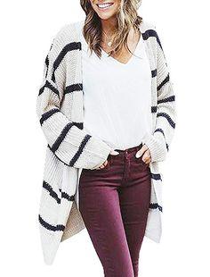 9745c53c8be87 Hestenve Womens Stripe Knit Cardigan Sweater Winter Slouchy Jumper Coat Pocket  Cardigan Sweaters