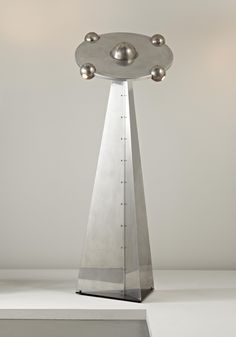 "YONEL LEBOVICI Monumental ""Soucoupe"" floor lamp, ca. 1978  Aluminum, chrome-plated metal, painted steel. 81 1/4 in. (206.4 cm) high From the edition of 20. One panel incised with ""Lebovici Y"" near base."