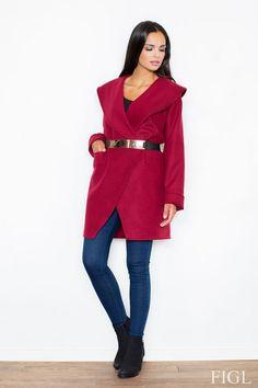 Claret coat with a spectacular cut