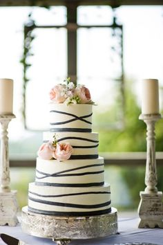 YUM! Beautifully made #white and #black #cake. Love the #pink flowers too! {BlueSky}