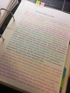 The colors separate the notes nicely into sections! The colors separate the notes nicely into sections! Handwriting Examples, Perfect Handwriting, Improve Your Handwriting, Handwriting Styles, Cursive Handwriting, Handwriting Practice, Beautiful Handwriting, School Organization Notes, Study Organization