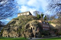 Nottingham Castle Rock and some of its caves.