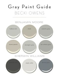 Gray paint colors by Benjamin Moore and Sherwin Williams