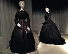 """Mourning Dresses, 1867 & 1868, """"Death Becomes Her: A Century of Mourning Attire"""" at the Metropolitan Museum of Art. Photo Credit: By Jennifer Nicole Sullivan"""