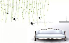 Wall Decals Birds Green Removable Vinyl Decal by WallDecalsTime, $59.00