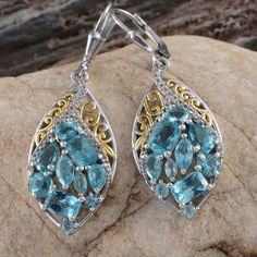 Madagascar Paraiba Apatite and White Topaz Lever Back Earrings in 14K Yellow Gold and Platinum Overlay Sterling Silver (Nickel Free)