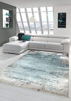 Designer Teppich Moderner Wollteppich Meliert Wohnzimmer Ornament Trkis Grau Grsse 120x170 Cm