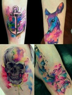 Various Water Colour Tattoos