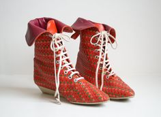Neon Woven Leather Ankle Boots by nbdg on Etsy, $225.00