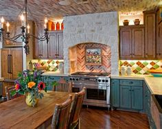 Colorful Ranch Kitchen by Design House, Inc.