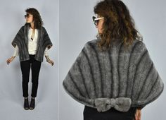 Vintage Streaked Gray Faux Fur Cape Capelet Stole Shawl Shrug with BOW Mid Century Stylish 50s 60s One Size Fits Most Free Size by ItaLaVintage on Etsy