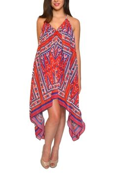 Lima from KAS New York. Enjoy the bohemian style of Ofira Summer Dress, perfect for both days and nights!   Enjoy the youthfully bohemian style of the KAS New York™ Lima Halter Dress! Lightweight and breezy polyester fabrication. Flaunts a vibrant print throughout. Features a sultry open-back design. Adjustable halter ties. Asymmetrical hemline. Lined. 100% polyester. Lining: 100% cotton. Hand wash cold, dry flat. Imported. Measurements: Length: 45 in Machine wash cold