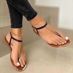 Pretty Sandals, Cute Sandals, T Strap Sandals, Women's Sandals, Cute Shoes Flats, Ankle Strap Flats, Girls Sandals, Ladies Flat Sandals, Black Flat Sandals