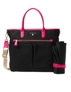 0ff2268e1799 Michael Kors Kelsey Nylon Baby Bag pad Gym travel handbag laptop Black Pink  NWT