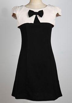 Beige Patchwork Bow Zipper Short Sleeve Cotton Dress