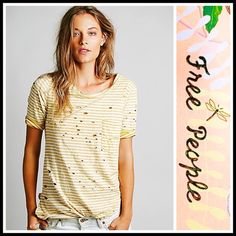 """Free People Tunic 'Destroyed' Tee 💟 NEW WITH TAGS 💟  RETAIL PRICE: $78  SIZING- L = 10-12 Free People Tunic Top Striped 'Destroyed' Tommy Tee   * Super soft & comfy knit fabric w/purposely distressed & worn details.   * It measures about 28.5-29.5"""" long.   * Scoop neck & elbow length sleeves.   * Side slits & hi-lo hem.   * Contrasting allover striped graphic print.   Fabric: 100% Cotton; Machine wash.  Color: Mustard Ivory Combo. Item: 92700  T-shirt 🚫No Trades🚫 ✅ Offers Considered*✅…"""