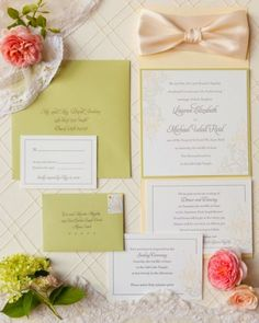"""See the """"The Invitation"""" in our A Pink-and-Yellow Vintage-Inspired Wedding in Utah gallery"""