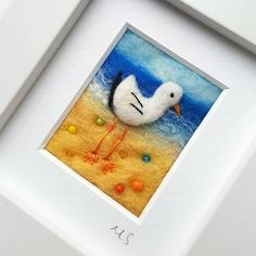Sea gull needle felted and embroidered original seascape artwork - coast inspired fiber art - gift for sea lover Needle Felted Animals, Needle Felting, Felt Crafts, Diy Crafts, Wet Felting Projects, Felt Pictures, Free Motion Embroidery, Wool Art, Nature Crafts