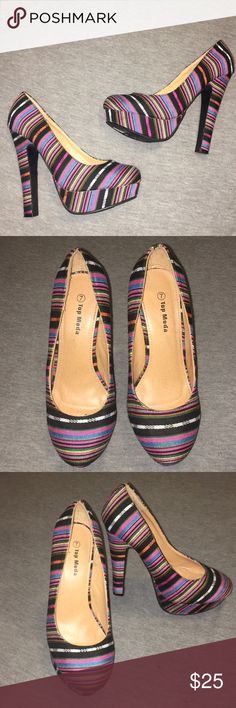 gorgeous Aztec print heels Aztec print heels by Top Moda 👠 they're size 7 with a 5.5'' heel and about 1.5'' platform. They're in great condition (I've worn them once) except for some sticker residue on the bottom. Pls feel free to make an offer! 🌸✨ Top Moda Shoes Heels