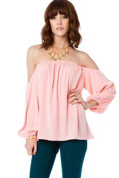 ShopSosie Style : Tarilyn Off Shoulder Top in Pink