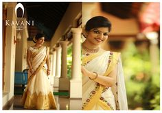 Pioneers in Customising Christian bridal sarees and bridal costumes. We at Kavani takes orders for white wedding gowns lehanga dresses party wear sarees Kerala Saree Blouse Designs, Half Saree Designs, Set Saree, Saree Dress, South Indian Wedding Saree, Saree Wedding, Kerala Traditional Saree, Christian Bridal Saree, Kasavu Saree