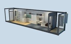 40-Foot Container Home #TinyHomes >> Learn more at http://wiselygreen.com/container-homes-pros-and-cons-of-shipping-container-homes/